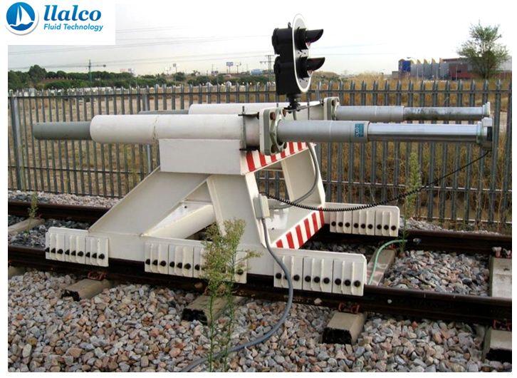 Buffer stop, rail sliding system